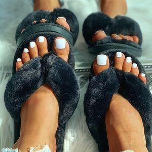 Shoes - Black Fluffy Bunny House Sandal